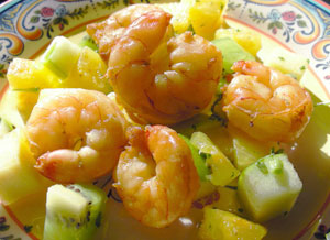 Lime-Broiled Shrimp with Tropical Fruit Relish